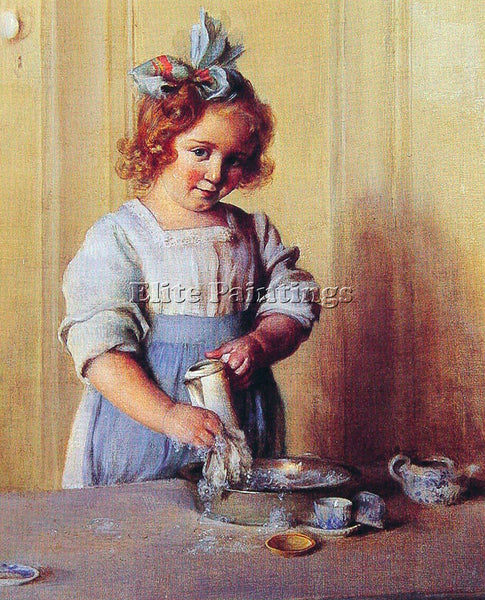 CHARLES COURTNEY CURRAN WASHING DISHES EMILY AND HER TEA SET ARTIST PAINTING OIL