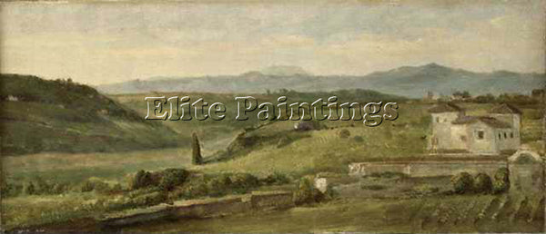 WATTS GEORGE FREDERICK  PANORAMIC LANDSCAPE WITH A FARMHOUSE ARTIST PAINTING OIL