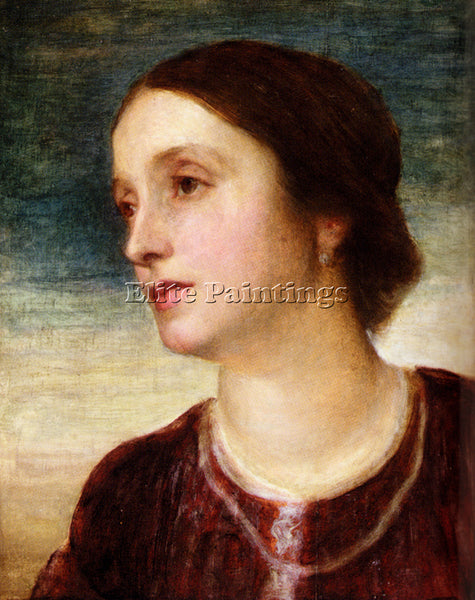 WATTS GEORGE FREDERICK  PORTRAIT OF THE COUNTESS SOMERS ARTIST PAINTING HANDMADE