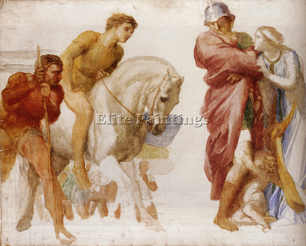 WATTS GEORGE FREDERICK  STUDY FOR CORIOLANUS ARTIST PAINTING HANDMADE OIL CANVAS