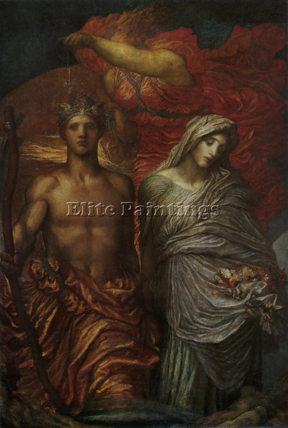 WATTS GEORGE FREDERICK  TIME DEATH AND JUDGEMENT 1870S 1886 ARTIST PAINTING OIL