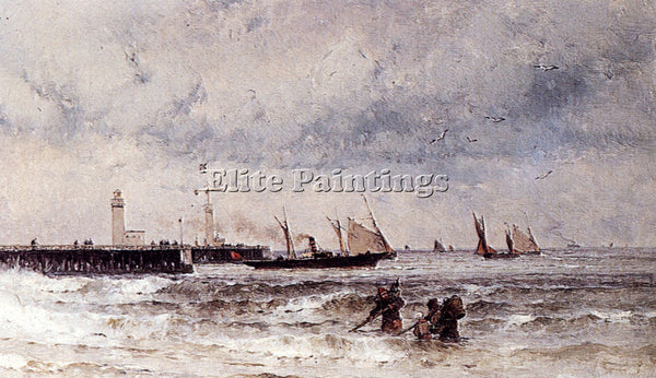 GERMAN WEBER THEODORE SHIPPING NEAR A HARBOUR ENTRANCE ARTIST PAINTING HANDMADE