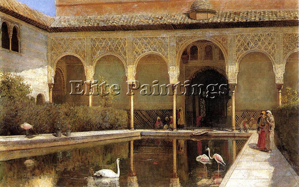 EDWIN LORD-WEEKS A COURT IN THE ALHAMBRA IN THE TIME OF THE MOORS ARTIST CANVAS