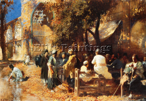 EDWIN LORD-WEEKS A PERSIAN CAFE ARTIST PAINTING REPRODUCTION HANDMADE OIL CANVAS