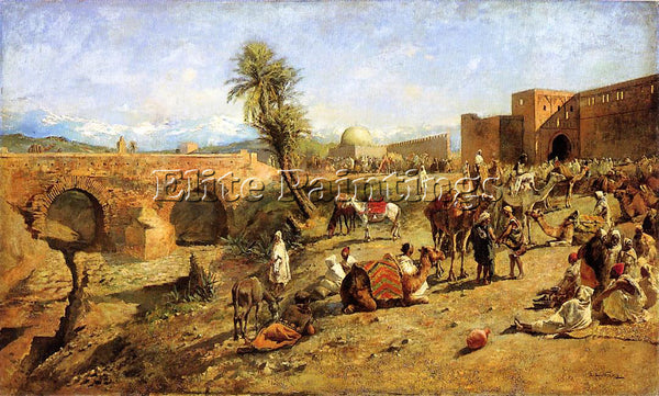 EDWIN LORD-WEEKS ARRIVAL OF A CARAVAN OUTSIDE THE CITY OF MOROCCO ARTIST CANVAS