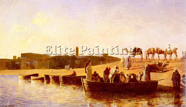 EDWIN LORD-WEEKS AT THE RIVER CROSSING ARTIST PAINTING REPRODUCTION HANDMADE OIL