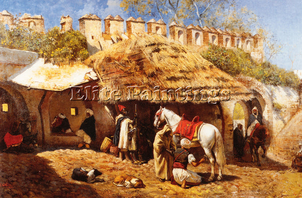 WEEKS EDWIN LORD  BLACKSMITH SHOP AT TANGIERS ARTIST PAINTING REPRODUCTION OIL