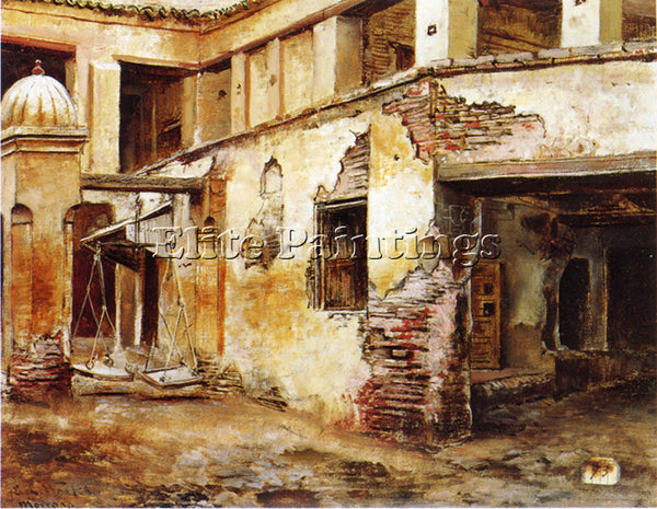 WEEKS EDWIN LORD  COURTYARD IN MOROCCO ARTIST PAINTING REPRODUCTION HANDMADE OIL