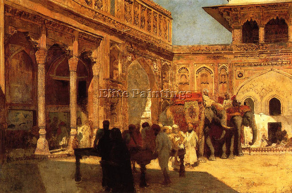 WEEKS EDWIN LORD  ELEPHANTS AND FIGURES IN A COURTYARD FORT AGRA ARTIST PAINTING