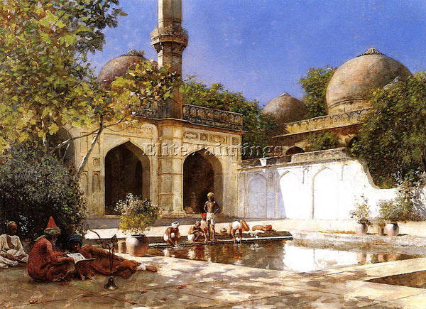 WEEKS EDWIN LORD  FIGURES IN THE COURTYARD OF A MOSQUE ARTIST PAINTING HANDMADE