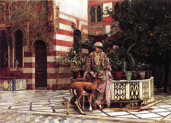 EDWIN LORD-WEEKS GIRL IN A MOORISH COURTYARD ARTIST PAINTING HANDMADE OIL CANVAS