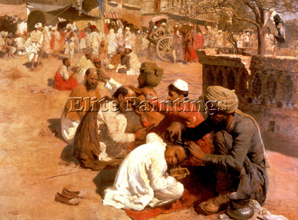 WEEKS EDWIN LORD  INDIAN BARBERS SAHARANPORE ARTIST PAINTING HANDMADE OIL CANVAS
