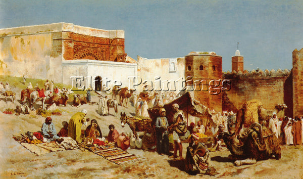 EDWIN LORD-WEEKS OPEN MARKET MOROCCO ARTIST PAINTING REPRODUCTION HANDMADE OIL