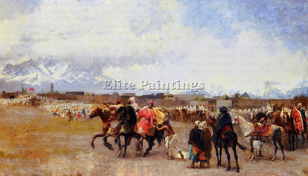 WEEKS EDWIN LORD  POWDER PLAY CITY OF MOROCCO OUTSIDE THE WALLS ARTIST PAINTING