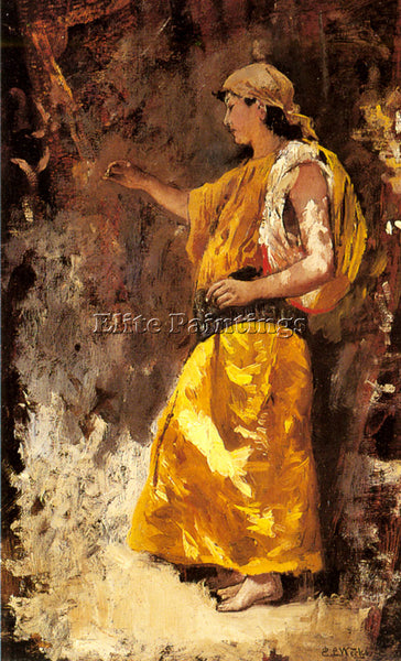 EDWIN LORD-WEEKS STANDING ARAB WOMAN ARTIST PAINTING REPRODUCTION HANDMADE OIL