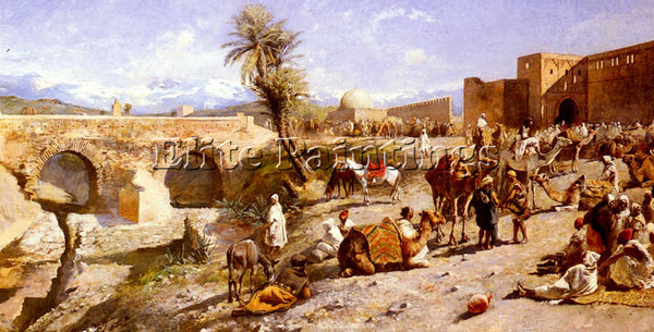 WEEKS EDWIN LORD  THE ARRIVAL OF A CARAVAN OUTSIDE MARAKESH ARTIST PAINTING OIL