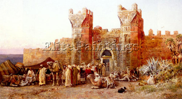 EDWIN LORD-WEEKS THE DEPARTURE OF A CARAVAN FROM GATE OF SHELAH MOROCCO PAINTING