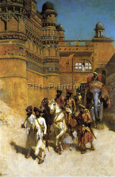 EDWIN LORD-WEEKS THE MAHARAHAJ OF GWALIOR BEFORE HIS PALACE ARTIST PAINTING OIL