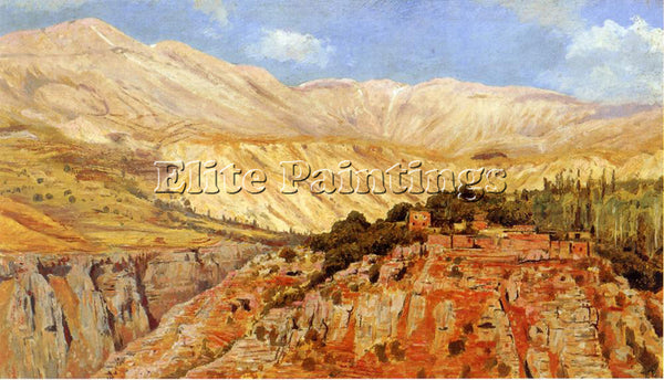 WEEKS EDWIN LORD  VILLAGE IN ATLAS MOUNTAINS MOROCCO ARTIST PAINTING HANDMADE