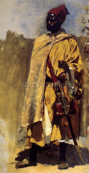 EDWIN LORD-WEEKS MOORISH GUARD ARTIST PAINTING REPRODUCTION HANDMADE OIL CANVAS