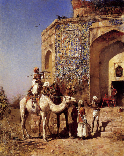 EDWIN LORD-WEEKS OLD BLUE TILED MOSQUE OUTSIDE OF DELHI INDIA PAINTING HANDMADE