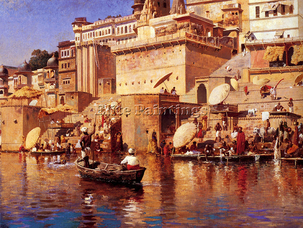 WEEKS EDWIN LORD  ON THE RIVER BENARES ARTIST PAINTING REPRODUCTION HANDMADE OIL