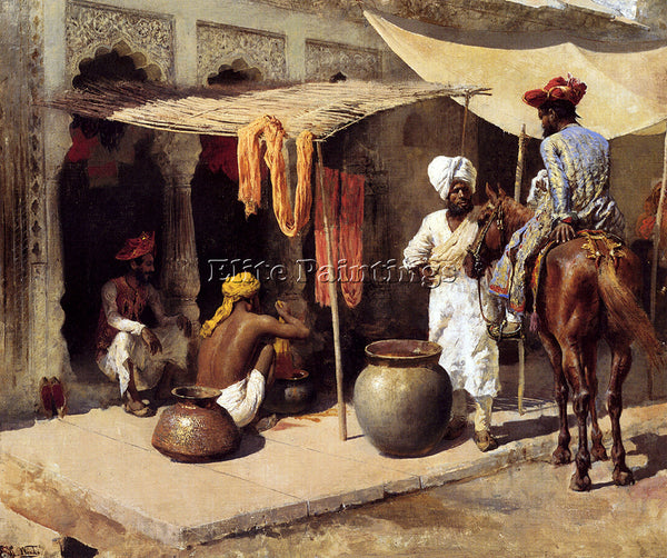 EDWIN LORD-WEEKS OUTSIDE AN INDIAN DYE HOUSE ARTIST PAINTING HANDMADE OIL CANVAS