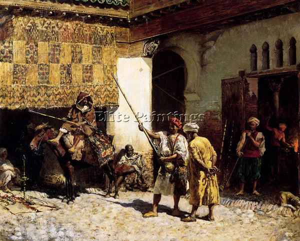 WEEKS EDWIN LORD  THE ARAB GUNSMITH ARTIST PAINTING REPRODUCTION HANDMADE OIL