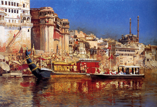 EDWIN LORD-WEEKS THE BARGE OF THE MAHARAJA OF BENARES ARTIST PAINTING HANDMADE