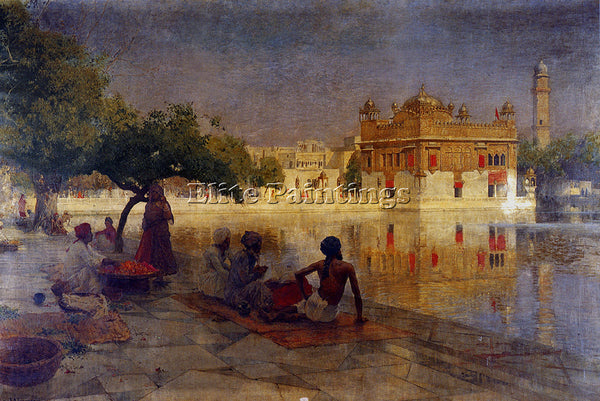 EDWIN LORD-WEEKS THE GOLDEN TEMPLE AMRITSAR 1890 ARTIST PAINTING HANDMADE CANVAS