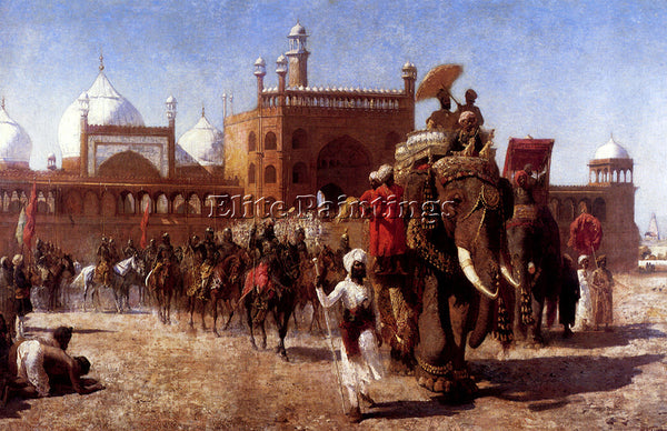 EDWIN LORD-WEEKS THE RETURN IMPERIAL COURT FROM GREAT MOSQUE AT DELHI ARTIST OIL