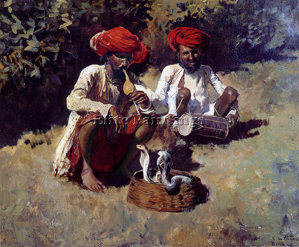 WEEKS EDWIN LORD  THE SNAKE CHARMERS BOMBAY ARTIST PAINTING HANDMADE OIL CANVAS