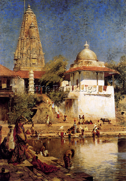 EDWIN LORD-WEEKS THE TEMPLE AND TANK OF WALKESHWAR AT BOMBAY ARTIST PAINTING OIL