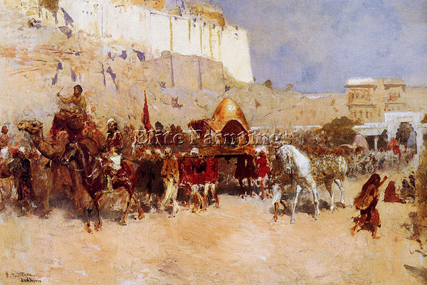EDWIN LORD-WEEKS WEDDING PROCESSION JODHPUR ARTIST PAINTING HANDMADE OIL CANVAS