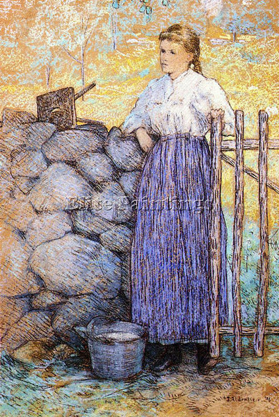 WEIR JULIAN ALDEN GIRL STANDING BY A GATE ARTIST PAINTING REPRODUCTION HANDMADE