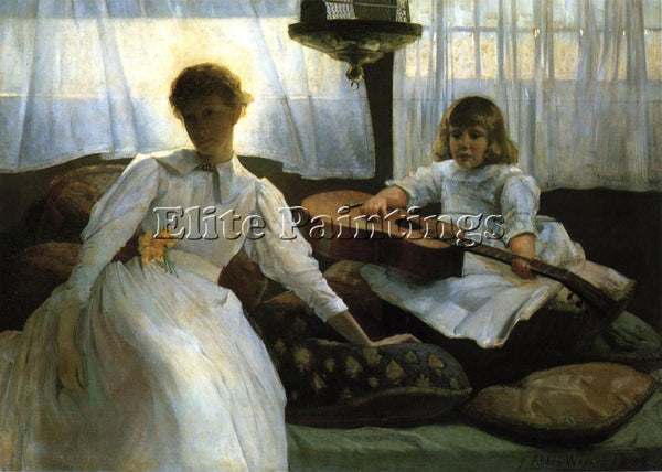WEIR JULIAN ALDEN IDLE HOURS ARTIST PAINTING REPRODUCTION HANDMADE CANVAS REPRO