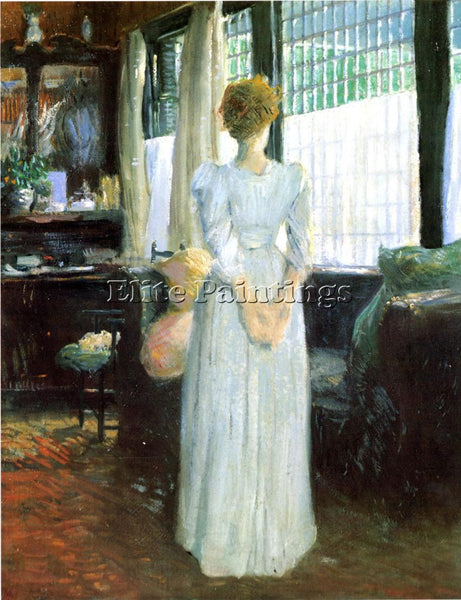 WEIR JULIAN ALDEN IN THE LIVINGROOM ARTIST PAINTING REPRODUCTION HANDMADE OIL