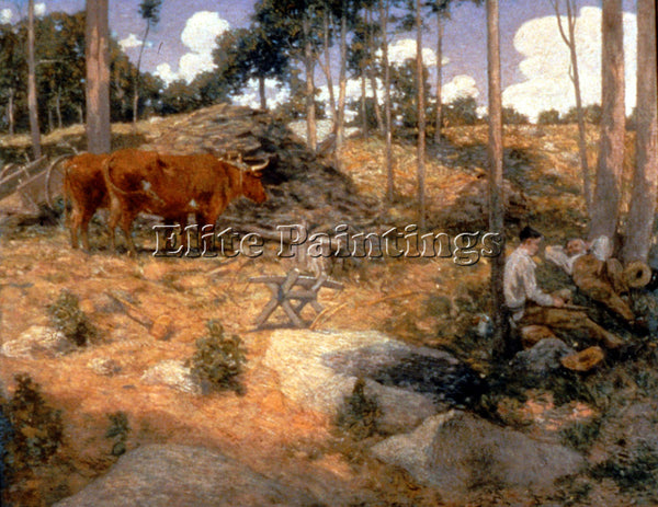 WEIR JULIAN ALDEN NOONDAY REST IN NEW ENGLAND ARTIST PAINTING REPRODUCTION OIL
