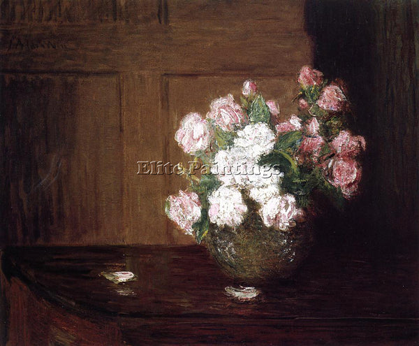 WEIR JULIAN ALDEN ROSES IN A SILVER BOWL ON A MAHOGANY TABLE ARTIST PAINTING OIL
