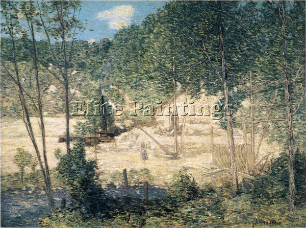 WEIR JULIAN ALDEN THE BUILDING OF THE DAM ARTIST PAINTING REPRODUCTION HANDMADE