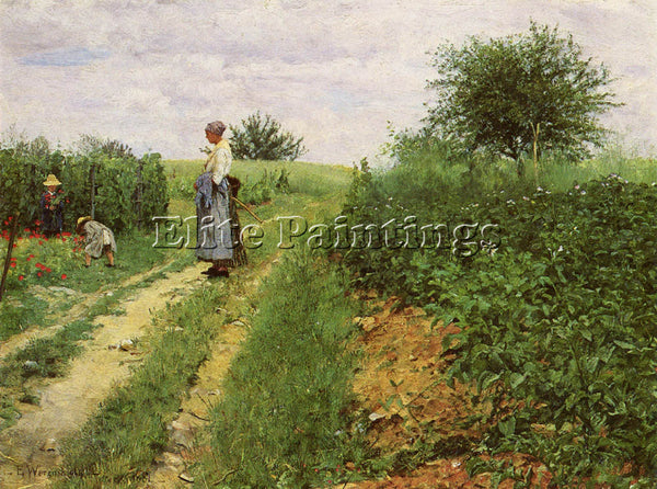 NORWAY WERENSKIOLD ERIK PICKING FLOWERS ARTIST PAINTING REPRODUCTION HANDMADE