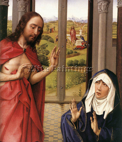 VAN DER WEYDEN MIRAFLORES ALTARPIECE RIGHT PANEL DETAIL1 ARTIST PAINTING CANVAS