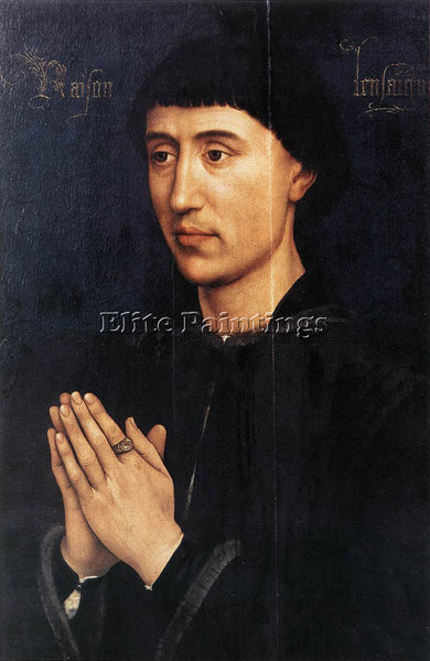 VAN DER WEYDEN PORTRAIT DIPTYCH OF LAURENT FROIMONT RIGHT WING PAINTING HANDMADE