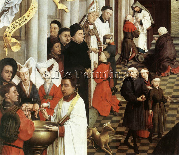 VAN DER WEYDEN SEVEN SACRAMENTS LEFT WING DETAIL1 ARTIST PAINTING REPRODUCTION