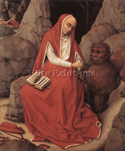 VAN DER WEYDEN ST JEROME AND THE LION C1450 ARTIST PAINTING HANDMADE OIL CANVAS