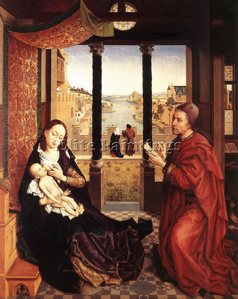 VAN DER WEYDEN ST LUKE DRAWING A PORTRAIT OF THE MADONNA C1450 PAINTING HANDMADE