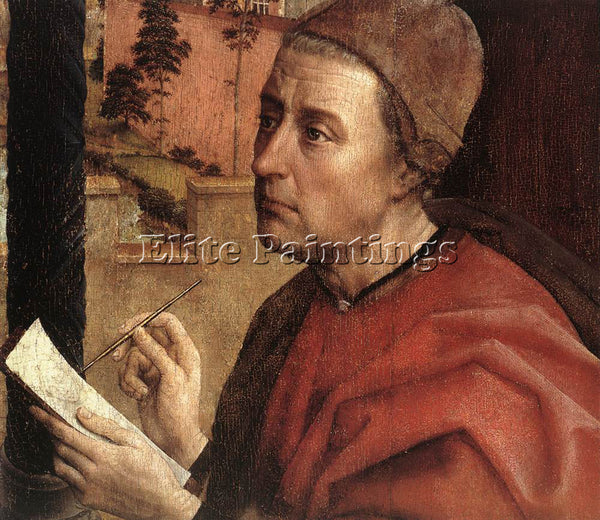 VAN DER WEYDEN ST LUKE DRAWING A PORTRAIT OF THE MADONNA DETAIL1 ARTIST PAINTING