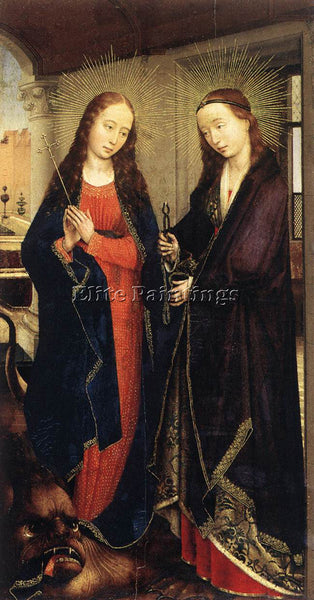 VAN DER WEYDEN STS MARGARET AND APOLLONIA ARTIST PAINTING REPRODUCTION HANDMADE