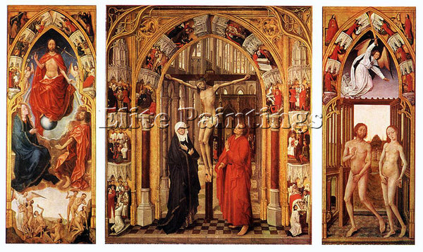VAN DER WEYDEN TRIPTYCH OF THE REDEMPTION ARTIST PAINTING REPRODUCTION HANDMADE