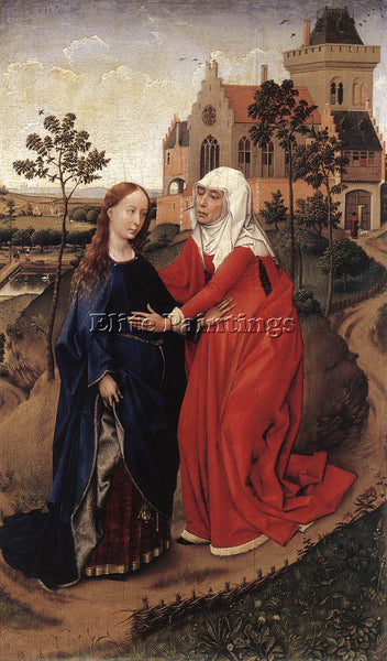 VAN DER WEYDEN VISITATION C1445 ARTIST PAINTING REPRODUCTION HANDMADE OIL CANVAS